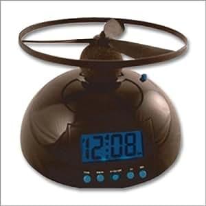 「電池込み」フライングアラームクロック (空飛ぶ目覚まし時計):ブラック