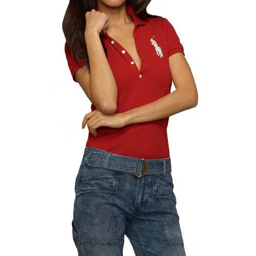 ポロシャツ レディース 半袖 スキニーポロ ビッグポニー 290734 ラルフ ローレン ブルー レーベル