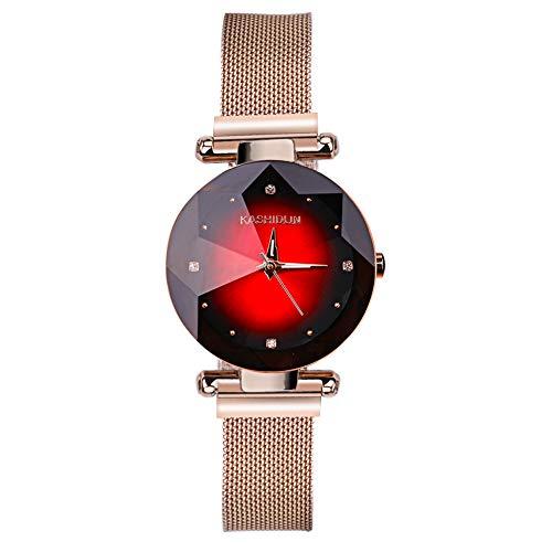 AKONI 腕時計 レディース 女性用 時計 磁気メッシュバンド キラキラ クリスタル 星空 おしゃれ ファッション クォーツ アナログ時計 (ゴールド )