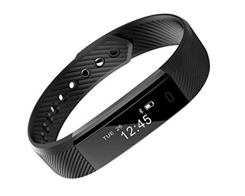 Kingda スマートブレスレット 活動量計 リストバンド 万歩計腕時計型 睡眠計 着信通知等IP67防塵防水 Bluetooth 4.0 iOS / androidスマホ対応 一年安心保証 (心拍計なしブラック)