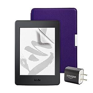 スターターセット (Amazon Kindle Paperwhite用 レザーカバー ロイヤルパープル + 保護フィルム + 充電アダブタ )