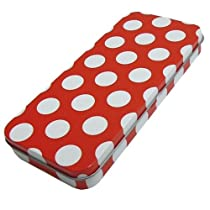 《レッドドット/赤水玉》ブリキ缶ペンケース(ふでばこ)☆文房具通販