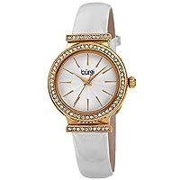 Burgi Swarovski Crystal Studded Bezel Watch - Sparkling Design Fine Guilloche Pattern Dial - Genuine White Patent Leather Black Strap - BUR230WT [並行輸入品]