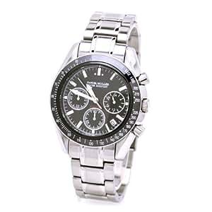 [ダニエル・ミューラー]DANIEL MULLER 腕時計 クロノグラフ セラミックベゼル ブラック シルバー DM-1010BKS メンズ