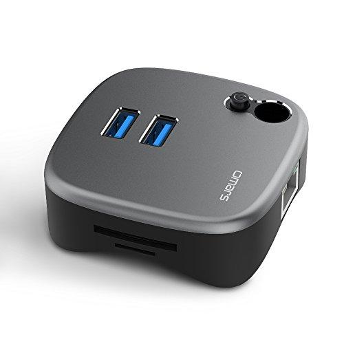 Omars USBハブ バスパワー スタンダードUSBハブ 2USB+1LAN+Mirco SD/TF カードリーダー+ペンスタンドPS4/Surface/MacBook対応 (スペースグレイ+ブラック)