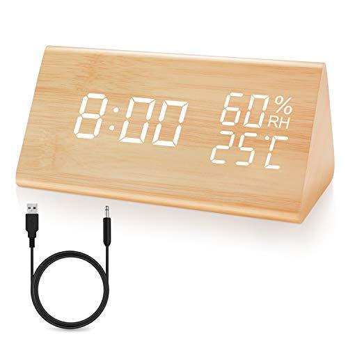 JOYNOTE目覚まし時計 木製 置き時計木目調デジタル 置き時計 大きなLED数字表示 大音量 アラーム 多機能 温...