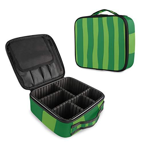 (VAWA) メイクボックス 大容量 プロ用 かわいい スイカの皮 グリーン 縞模様 化粧箱 機能的 コスメ収納 ブラシバッグ 調整可能 旅行出張用