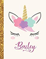 Bailey: Bailey Unicorn Personalized Black Paper SketchBook for Girls and Kids to Drawing and Sketching Doodle Taking Note Marble Size 8.5 x 11