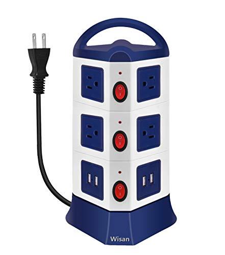 Wisan タワー型 電源タップ USB コンセント 3層 2500w 入力110-250V 10AC充電口 4USBポート 雷ガード 過負荷保護 延長コード2m オフィス用 家庭給電用 テーブルタップ