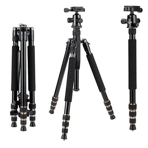 OUTAD カメラ三脚 ナット式 アルミ製 4段 伸縮式 一脚可変式 最大耐荷重6kg 折り畳み可能 収納サイズ36cm 軽量&コンパクト&安定性 収納専用ケース付き 3WAY雲台Panasonic Canon Nikon Sony GoPro Fujifilm Kodak DSLR Cameras に対応