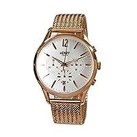 ヘンリーロンドン HENRY LONDON 【41】0040(シルバー/Pゴールド) 41mm/メッシュ メンズ 時計 腕時計 [並行輸入品]