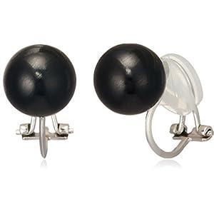 [ジュエリーシンワ] Jewelry Shinwa SV 天然ジェット 10mm丸玉 クリップイヤリングジュエリー je202