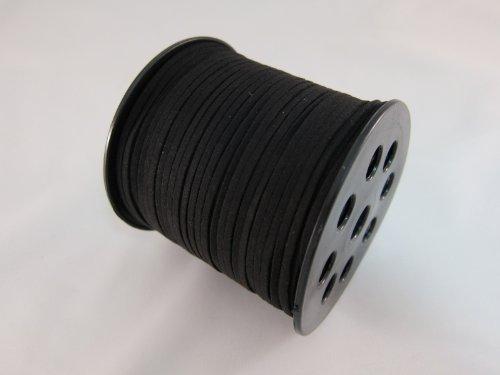 Tick Nick 合皮平革紐 幅3mm 100ヤード 約91m巻き ブラック 皮紐 革ひも / ネックレス アクセサリー ストラップ に