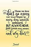 Those we love don't go away. They walk beside us every day.: Grief journal  notebook to write in after a loss. Perfect for thoughts, feelings, memories. Sweet gift for a loved one.