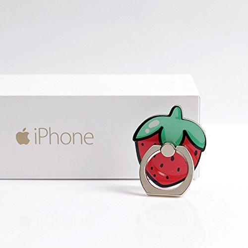 イチゴ 苺 KRY Design By Japanese かわいい フルーツ ホールドリング フィンガーリング 落下防止 スマホリング スタンド機能 (イチゴ 苺) Strawberry