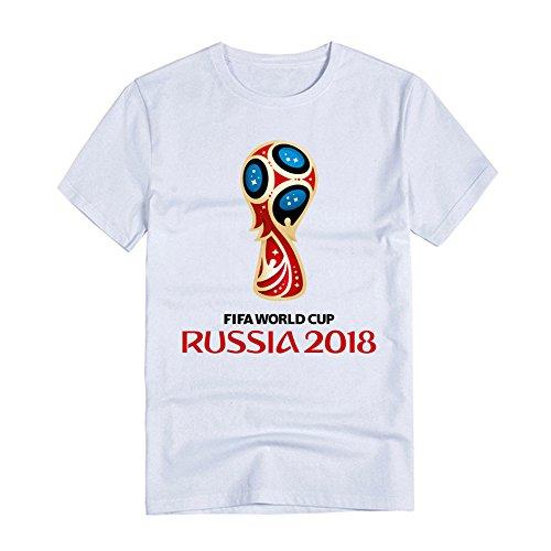 2018 FIFAロシアワールドカップサッカープリントワールドカップメンズ半袖Tシャツ 夏 男性と女性の両方 コットン (white, M)