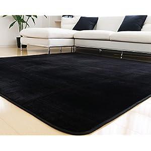 ラグ 洗える 200×250 ラグマット 滑り止め付 マット ラグカーペット 冬 カーペット ホットカーペット対応 フランネル 長方形 四角 絨毯 リビング 床暖房対応 マイクロファイバー Lサイズ (L無地・ブラック)