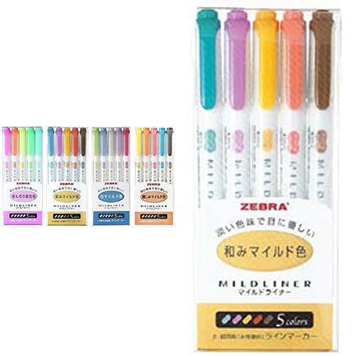 ゼブラ 蛍光ペン マイルドライナー 親しみマイルド色 5色 WKT7-N-5C &  蛍光ペン マイルドライナー 和みマイルド色 RC5色 WKT7-5C-RC