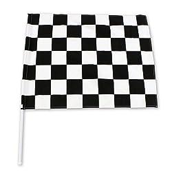 チェッカーフラッグ(60×78cm)黒 白【塩ビパイプ付】 レース F1 モトクロス 競争 サッカー 応援
