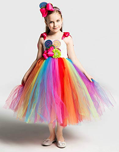 S&C Liveポップキャンディコスプレワンピースドレス 女の子 ポップキャンディ風ワンピース キャンディカチューシャ付 カラフル 超かわいい おもしろい ハロウィンコスチューム キッズコスチューム 超可愛い おもしろ イベント仮装#190668 (デザイ