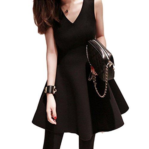 (カエナリエ)Kaenarie フレア ワンピース Vネック パーティ ドレス 黒 Sサイズ