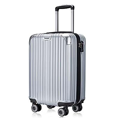 TTOvaligeria[TTOバリジェリア] スーツケース 軽量 静音 TSAロック搭載 ファスナータイプ 機内持ち込み(Sサイズ,シルバー)