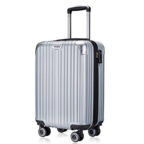 TTOvaligeria[TTOバリジェリア] スーツケース 軽量 静音 TSAロック搭載 ファスナータイプ 機内持ち込み(Mサイズ,シルバー)