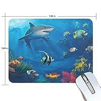マウスパッド ゲーミング オフィス 水中世界 サメ 防水 滑り止めゴム底 耐久性が良い 高級感 おしゃれ 疲労低減 自由な操作できる 25x19x0.5 cm