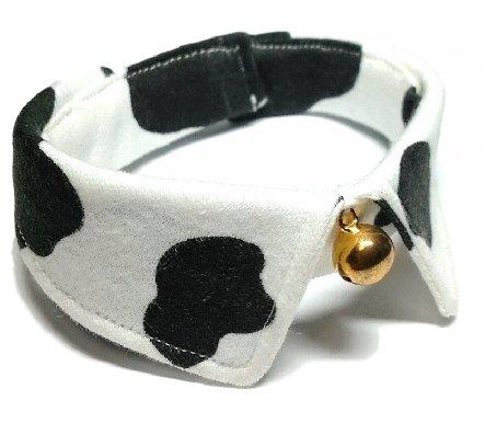 犬猫用首輪 ホルスタイン柄 襟つきカラー 鈴付 ハンドメイド (L:27~34cm)