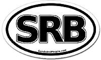 Serbia SRB車バンパーステッカーデカールオーバルブラックとホワイト