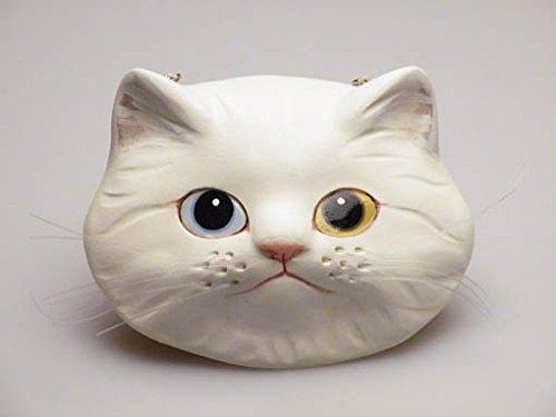 壁掛け用 ねこ面【石膏粘土】ペルシャ猫 白(オッドアイ)