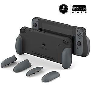 Skull & Co. GripCase: 人間工学交換可能なグリップあらゆるサイズの手にフィットする保護ケース(Nintendo Switch用のキャリングケースは含まれません) - グレー