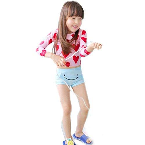 Spinas(スピナス)キッズベビー水着おしゃれ子供服兼用 ラッシュガード 姉妹 お揃い プレゼント 2歳 3歳 4歳 5歳 6歳7歳 海 プール(S,ピンク×レッドハート)