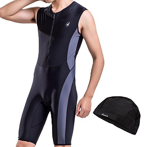 S4R(エスフォーアール) メンズ ワンピース フィットネス水着 上下 水泳帽付き フロントファスナーで着脱簡単 露出を抑える (Black, L)