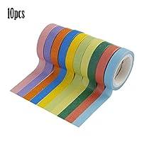 Yunskynomise 軽量ファッション10個DIYかわいいカワイイキャンディーカラーテープ紙装飾ステッカー用ホームデコレーションスクラップブッキング(色:ランダム)