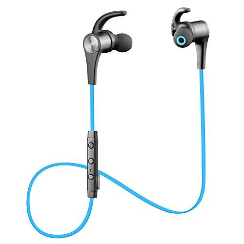 SoundPEATS(サウンドピーツ) Q12 Bluetooth イヤホン 高音質 apt-X対応 マグネット搭載 マイク付き スポーツ ブルートゥース イヤホン ブルー
