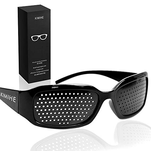 ピンホールメガネ,KIMIHE 視力回復 視力トレーニング、眼筋運動に! 遠近兼用 疲労予防【近視 遠視 老眼 乱視の改善】疲れ目 フリーサイズ 男女兼用 眼筋力 アップ