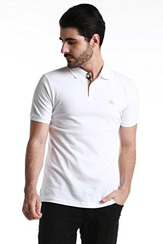 【バーバリー ブリット】 メンズ 半袖 ポロシャツ チェックブラケット コットンピケ ホワイト