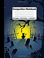 Composition Notebook: Spooky Halloween Gifts: Red Eyed Black Cat in Graveyard, Composition Book, Back to School Work or Home, 100 pages