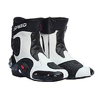 SPEED BIKERS スポーツバイク レーシングブーツ/オートバイ靴 speed バイク用レーシングブーツ バイク用靴/ブーツ バイクブーツ ライダーブーツ ホワイト 25-25.5CM 40サイズ