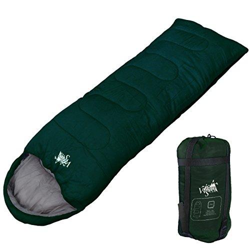 WhiteSeek 寝袋 シュラフ 封筒型 【最低使用温度7℃ 1000g】 (NEWダークグリーン)