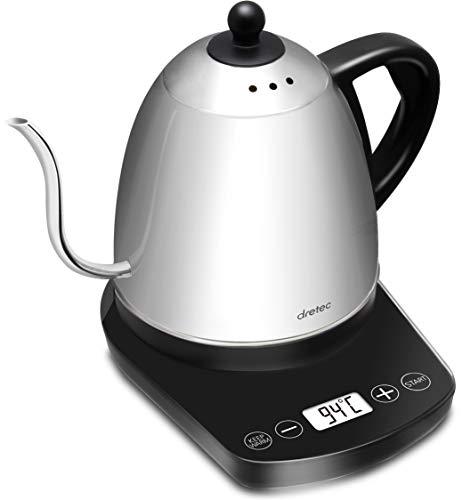 dretec(ドリテック)【最新モデル】 温度調節付 電気ケトル ステンレス コーヒー ドリップ ポット 細口 0.8L PO-145BKDI(ブラック)