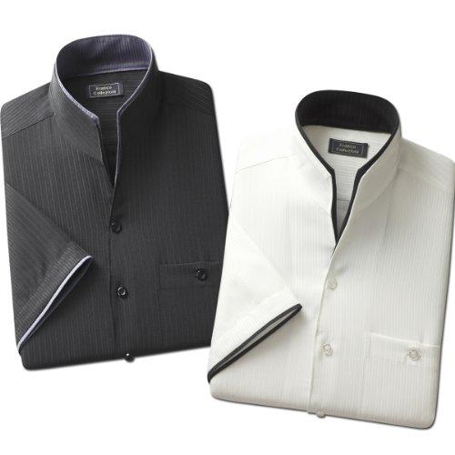(フランココレツィオーニ)Franco collezioni 二重変化衿5分袖シャツ2枚組 50254  ホワイト ブラック 3L
