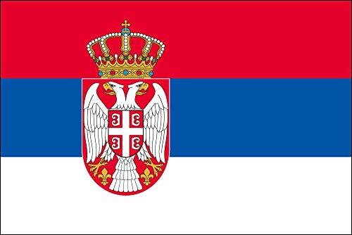 セルビア [ 卓上旗  国旗 16×24cm 高級テトロン製]