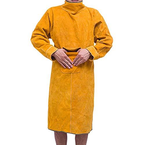 NUZAMAS 大判タイプ 牛革 溶接用 エプロン 防炎 溶接 防護服 やけど 対策 耐熱 ツールポケット 115cm