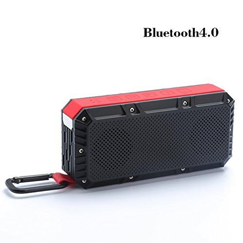 NIMASO bluetooth4.0 ワイヤレス スピーカー アウトドア IPx6防水 低音強化 マイク搭載 microSDカード デュアルドライバー臨場感 (15.5*7.5*4.8, ブラック*レッド)