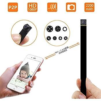 1080P P2P 超小型高画質スパイ隠しカメラ 防犯監視カメラ 動体検知 長時間録画 iPad/iPhone/Android 4画面対応 10メートル信号安定 日本語取扱