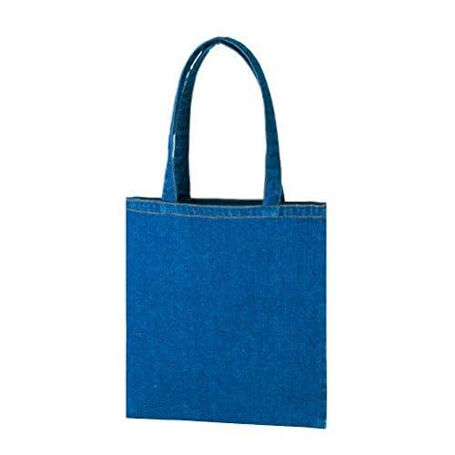 ライトデニム トートバッグ(L) A4サイズ フラットタイプ レディース メンズ 鞄 肩掛け マチなし エコバッグ レッスンバッグ (ウォッシュブルー)