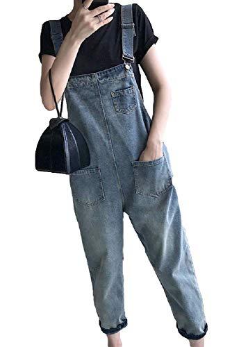 9bb8c8bb0a9c83 [ミケディ] オーバーオール サロペット サルエル デニム ゆったり ポケット付き カジュアル ブルー レディース Sの画像