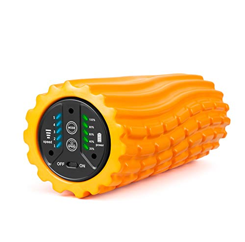 SIUSUMFO 振動 フォームローラー 筋膜リリース 5段階調節 グリッドヨガポールマッサージローラー ストレッチ エクササイズ 肩こり 腰痛 脚やせ 電動ローラー 収納バッグ付き